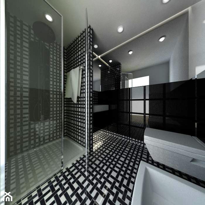 Projekt łazienki czarno białej - zdjęcie od Moduro Projektowanie i Wyposażenie Wnętrz - homebook