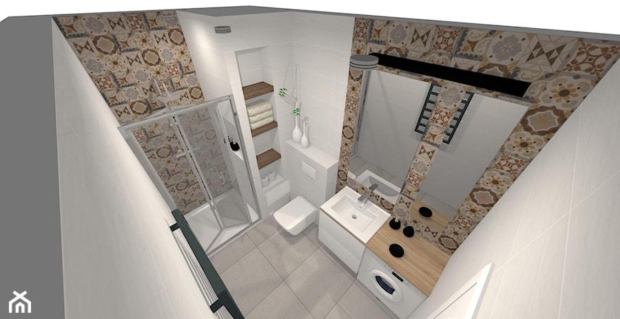 łazienka Biel Z Patchworkiem łazienka Styl Eklektyczny