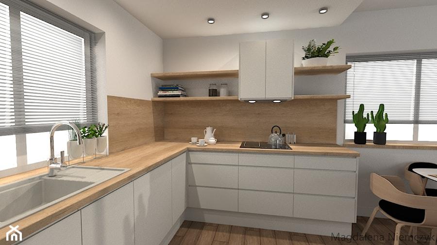 Biała Kuchnia Z Drewnem średnia Otwarta Biała Kuchnia W