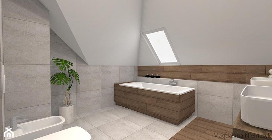 łazienka W Betonie I Drewnie łazienka Styl Nowoczesny