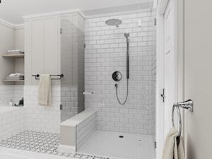 Łazienka w stylu amerykańskim - Średnia biała szara łazienka w bloku w domu jednorodzinnym z oknem, styl klasyczny - zdjęcie od PIĘKNIE TU