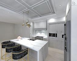 bardzo KLASYCZNIE - Średnia otwarta szara kuchnia w kształcie litery l z wyspą, styl klasyczny - zdjęcie od PERIHDESIGN - Homebook