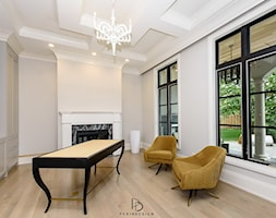 dom w CHICAGO - Średnie szare białe biuro domowe w pokoju, styl klasyczny - zdjęcie od PERIHDESIGN - Homebook