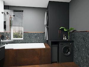 37. - Średnia czarna szara zielona łazienka z oknem, styl industrialny - zdjęcie od na miare mieszkania