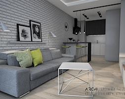 Nowoczesny Salon Z Aneksem Kuchennym Sypialnia Projekt