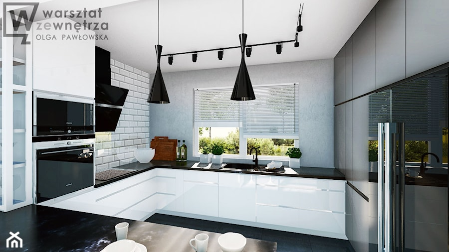 Kuchnia z szarą ścianą - Średnia szara kuchnia w kształcie litery g z oknem, styl nowoczesny - zdjęcie od Warsztat Zewnetrza Olga Pawlowska