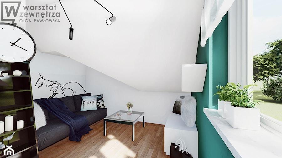 Pokój na poddaszu z zieloną ścianą - Średni biały niebieski pokój dziecka dla chłopca dla ucznia dla nastolatka, styl nowoczesny - zdjęcie od Warsztat Zewnetrza Olga Pawlowska