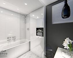 Czarno - biała łazienka - Średnia biała czarna łazienka w bloku w domu jednorodzinnym z oknem, styl ... - zdjęcie od Warsztat Zewnetrza Olga Pawlowska - Homebook