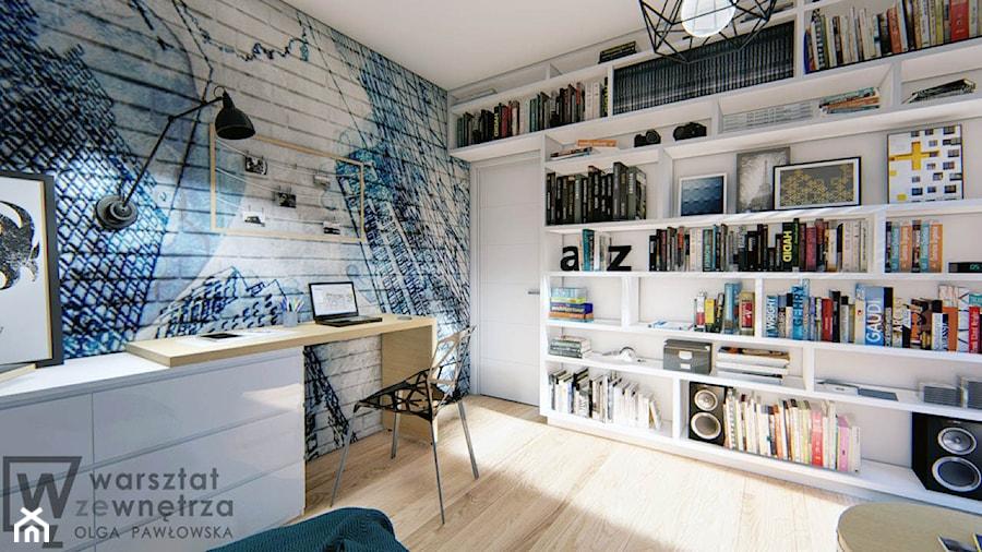 Pokój nastolatka - Średni biały szary pokój dziecka dla chłopca dla ucznia dla nastolatka, styl nowoczesny - zdjęcie od Warsztat Zewnetrza Olga Pawlowska