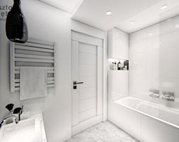 Czarno - biała łazienka - Średnia biała czarna łazienka w bloku w domu jednorodzinnym bez okna, sty ... - zdjęcie od Warsztat Zewnetrza Olga Pawlowska - Homebook