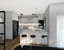 Kuchnia z marmurowym blatem - Średnia otwarta szara kuchnia w kształcie litery l w aneksie z oknem, ... - zdjęcie od Warsztat Zewnetrza Olga Pawlowska - Homebook