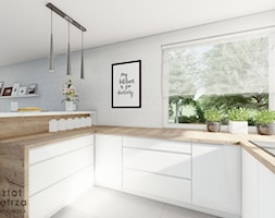 Kuchnia z narożnym oknem - Średnia otwarta biała kuchnia w kształcie litery u w aneksie z oknem, st ... - zdjęcie od Warsztat Zewnetrza Olga Pawlowska - Homebook