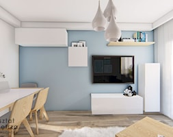 Salon z niebieską ścianą - Salon, styl nowoczesny - zdjęcie od Warsztat Zewnetrza Olga Pawlowska - Homebook