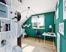 Pokój na poddaszu z zieloną ścianą - Duży biały zielony pokój dziecka dla chłopca dla ucznia dla nas ... - zdjęcie od Warsztat Zewnetrza Olga Pawlowska - Homebook