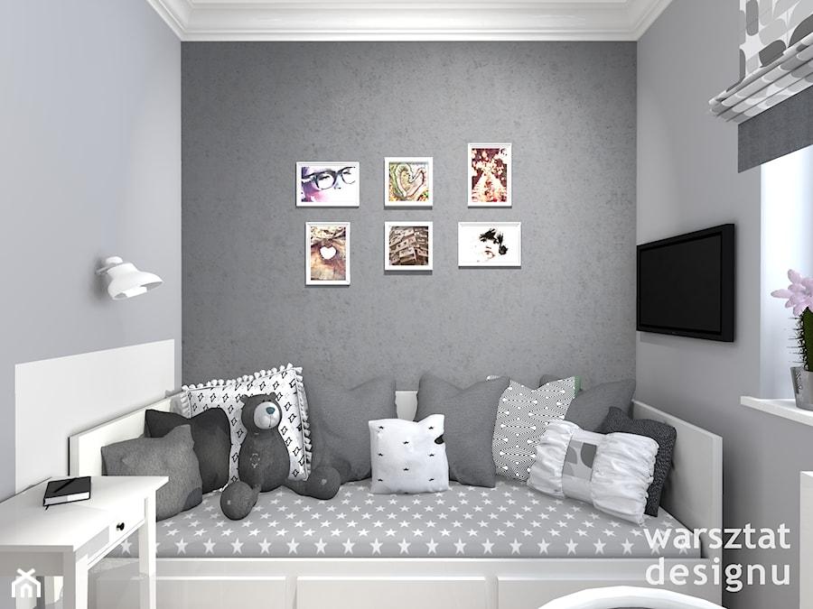 Pokój nastolatki - Mały biały szary pokój dziecka dla chłopca dla dziewczynki dla ucznia dla malucha dla nastolatka, styl klasyczny - zdjęcie od Warsztat Designu