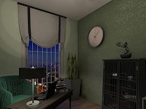 Wizualizacja gabinetu - Małe zielone biuro domowe w pokoju, styl kolonialny - zdjęcie od pamw.atelier