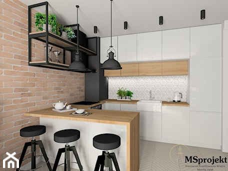 Aranżacje wnętrz - Kuchnia: Projekt mieszkania w stylu industrialnym - MSprojekt. Przeglądaj, dodawaj i zapisuj najlepsze zdjęcia, pomysły i inspiracje designerskie. W bazie mamy już prawie milion fotografii!