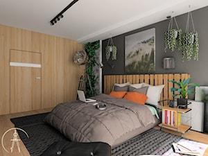 Męska sypialnia w apartamentowcu