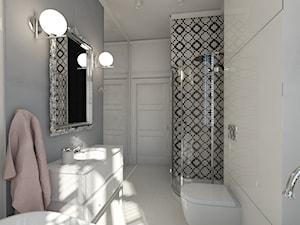Mieszkanie dla młodej kobiety - Średnia biała szara łazienka w bloku w domu jednorodzinnym bez okna - zdjęcie od Uznam Wnętrza