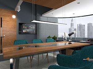 Biuro Warszawa - Średnie czarne szare biuro pracownia w pokoju, styl tradycyjny - zdjęcie od MYSprojekt Marek Myszkowski