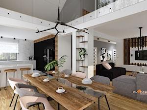 Projekt salonu - Średnia otwarta biała kuchnia w kształcie litery g z oknem, styl tradycyjny - zdjęcie od MYSprojekt Marek Myszkowski