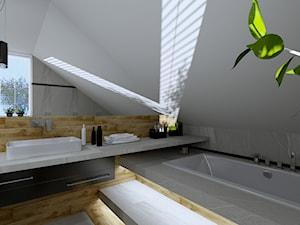 ŁAZIENKA NOWOCZESNA - Mała biała łazienka na poddaszu w domu jednorodzinnym z oknem, styl nowoczesny - zdjęcie od Justyna Nabielec