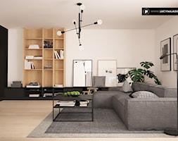 DOM JP W LUSÓWKU - Średni biały czarny salon z bibiloteczką, styl nowoczesny - zdjęcie od LUCYNA JAŚKIEWICZ Architektura & Wnętrza - Homebook