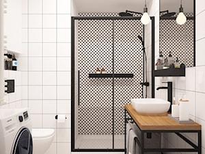 ŁAZIENKA AW W WARSZAWIE - Średnia biała łazienka w bloku w domu jednorodzinnym bez okna, styl nowoczesny - zdjęcie od LUCYNA JAŚKIEWICZ Architektura & Wnętrza