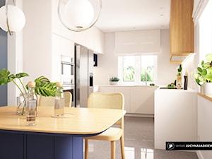KUCHNIA KM - Średnia otwarta biała kuchnia w kształcie litery u w aneksie z oknem, styl nowoczesny - zdjęcie od LUCYNA JAŚKIEWICZ Architektura & Wnętrza