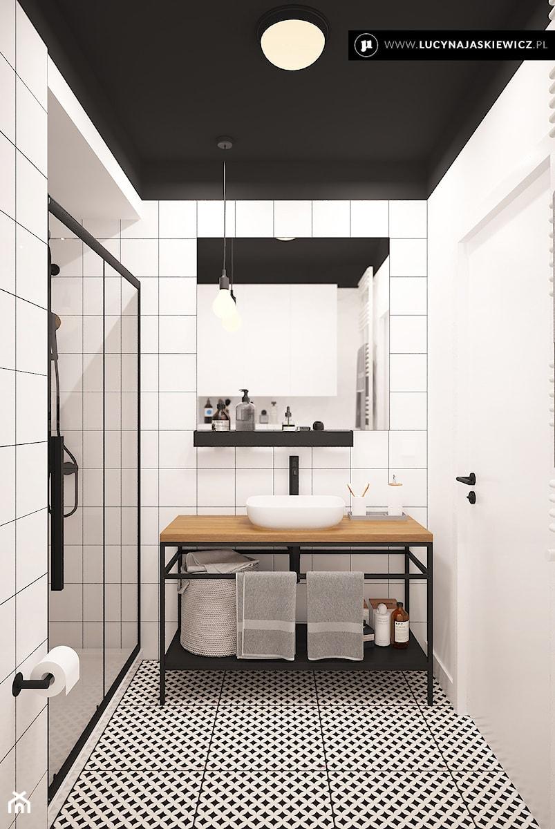 ŁAZIENKA AW W WARSZAWIE - Średnia biała szara łazienka w bloku w domu jednorodzinnym bez okna, styl nowoczesny - zdjęcie od LUCYNA JAŚKIEWICZ Architektura & Wnętrza