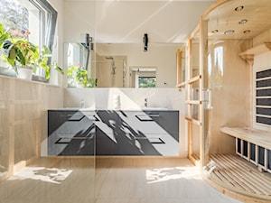MID - Duża szara łazienka w bloku w domu jednorodzinnym z oknem, styl nowoczesny - zdjęcie od Lumen Fotografia