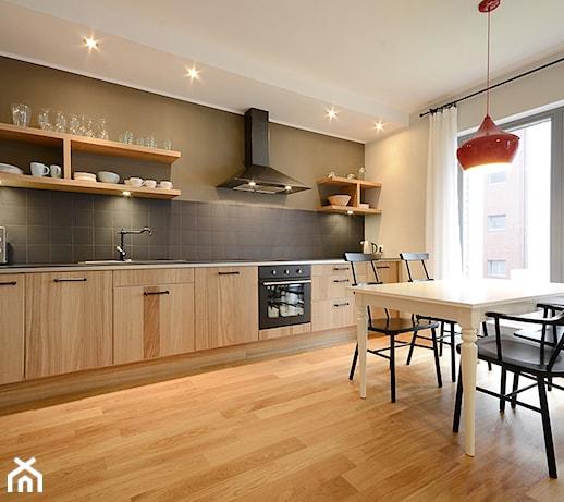 MOTŁAWA  Średnia otwarta kuchnia jednorzędowa w aneksie, styl skandynawski  -> Kuchnia Z Jadalnią Styl Skandynawski