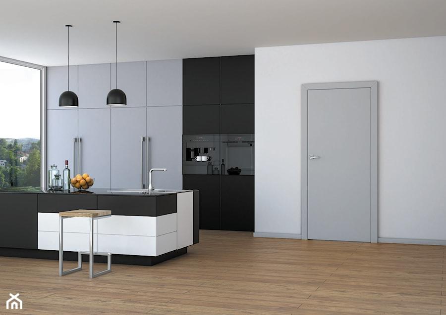 Uni - Średnia otwarta biała kuchnia dwurzędowa z wyspą z oknem, styl eklektyczny - zdjęcie od DRE