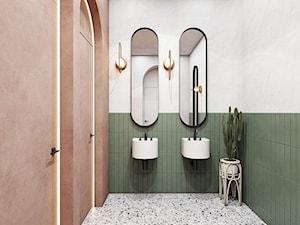 """""""Najpiękniejsze wnętrza z drzwiami DRE"""" - Mała szara zielona łazienka w bloku w domu jednorodzinnym bez okna, styl eklektyczny - zdjęcie od DRE"""