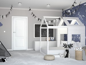 Nestor - Duży szary czarny pokój dziecka dla chłopca dla malucha, styl skandynawski - zdjęcie od DRE