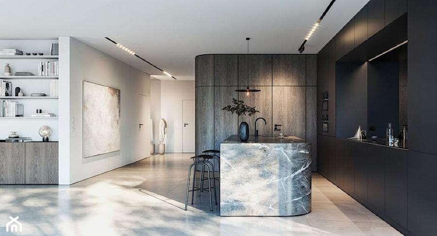 """""""Najpiękniejsze wnętrza z drzwiami DRE"""" - Duża otwarta biała czarna kuchnia w kształcie litery l w aneksie z wyspą, styl eklektyczny - zdjęcie od DRE"""