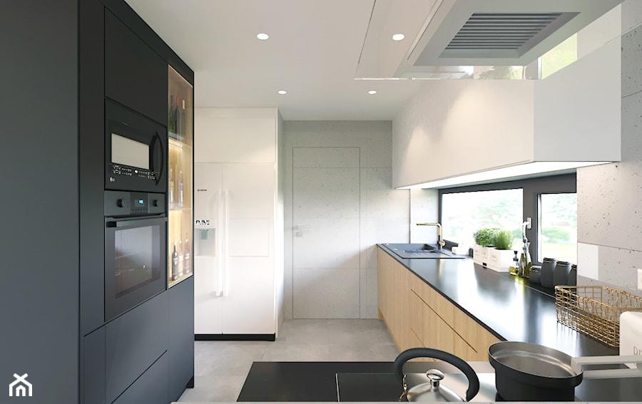"""""""Najpiękniejsze wnętrza z drzwiami DRE"""" - Średnia zamknięta biała szara kuchnia w kształcie litery l z oknem, styl nowoczesny - zdjęcie od DRE"""