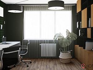 Taste of Wood & Grey - Średnie czarne zielone biuro domowe w pokoju, styl nowoczesny - zdjęcie od Homeasy