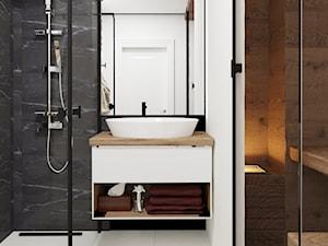 MIESZKANIE WARSZAWA - Średnia biała czarna łazienka w bloku w domu jednorodzinnym - zdjęcie od goldenroom.pl