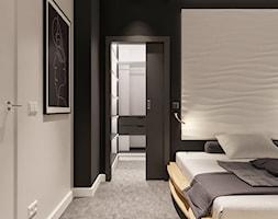 Średnia szara czarna sypialnia małżeńska z garderobą, styl minimalistyczny - zdjęcie od Sublime studio - Homebook