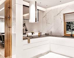 Średnia otwarta szara kuchnia w kształcie litery l z oknem, styl minimalistyczny - zdjęcie od Sublime studio - Homebook