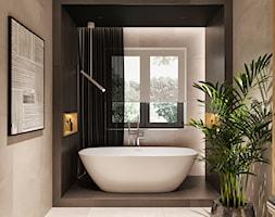Średnia szara łazienka w bloku w domu jednorodzinnym z oknem, styl minimalistyczny - zdjęcie od Sublime studio - Homebook