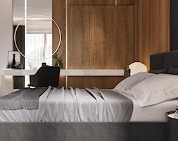 Mała biała czarna sypialnia małżeńska, styl nowoczesny - zdjęcie od Sublime studio - Homebook