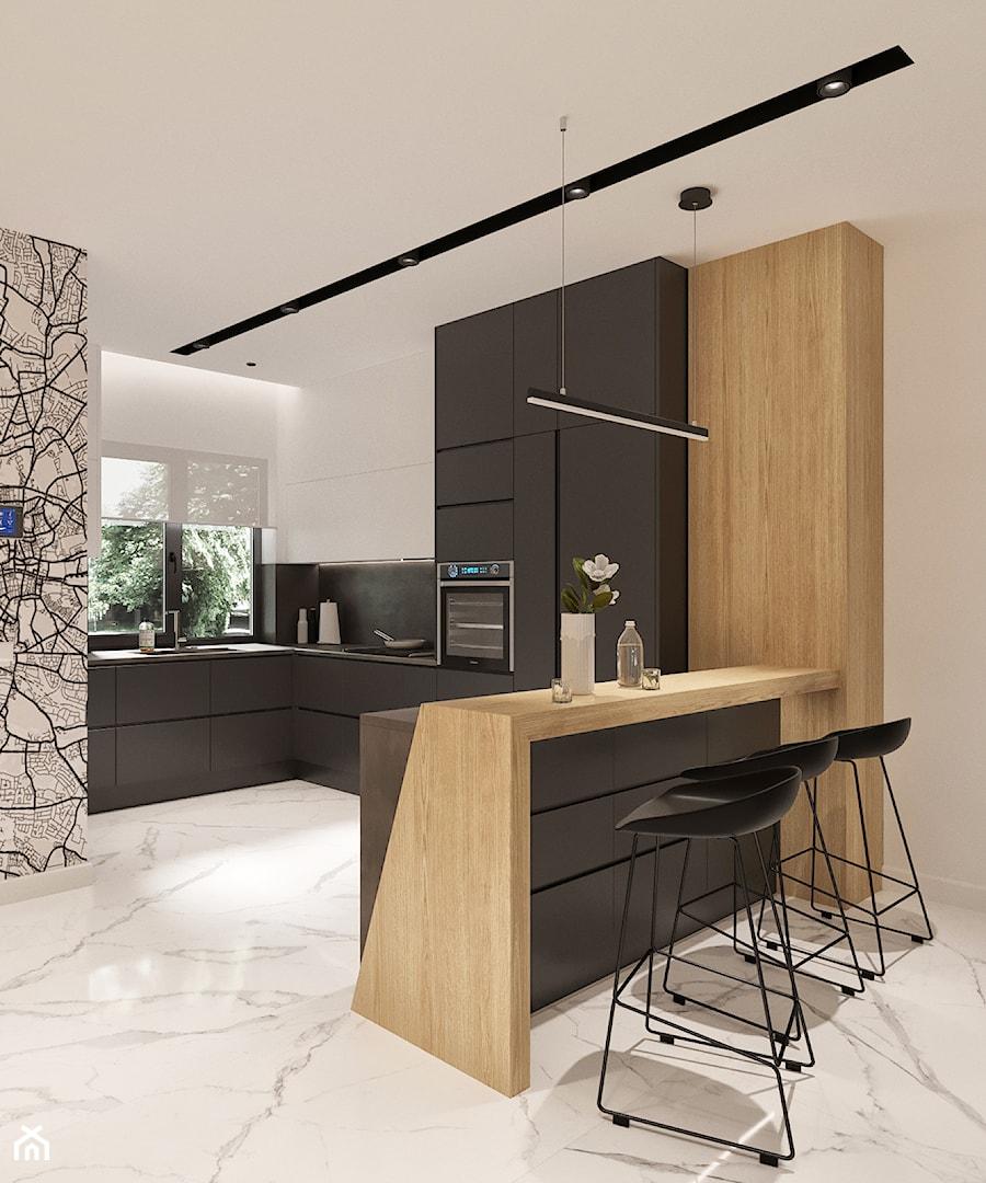 Średnia otwarta biała czarna kuchnia w kształcie litery u w aneksie z oknem, styl minimalistyczny - zdjęcie od Sublime studio