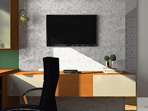 Domowe Biuro - Średnie szare zielone biuro domowe kącik do pracy w pokoju, styl nowoczesny - zdjęcie od DESIGNYOURHOME