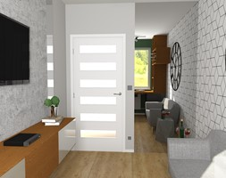 Domowe Biuro - Małe beżowe szare białe biuro domowe kącik do pracy w pokoju, styl nowoczesny - zdjęcie od DESIGNYOURHOME