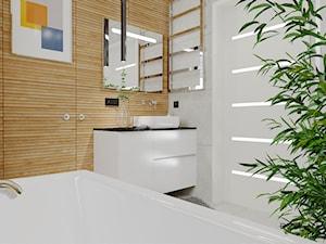 Łazienka z elementami drewna