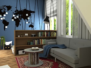 Projekt mieszkania na wynajem Kujawska, Warszawa - Średni biały niebieski żółty salon z bibiloteczką, styl eklektyczny - zdjęcie od NANUstudioprojektowe