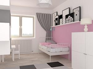 Pokój dla dwulatki - Średni biały różowy pokój dziecka dla dziewczynki dla ucznia dla malucha, styl nowoczesny - zdjęcie od Foto-wnętrza