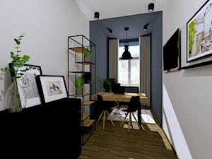 BIURO W KAMIENICY - INTERI PROJEKTY WNĘTRZ ŁOWICZ - Średnie niebieskie białe biuro domowe w pokoju, styl industrialny - zdjęcie od interi-wnetrza